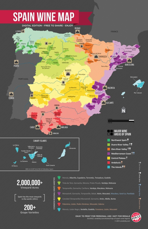 Wine - Spanish Wine Regions Map