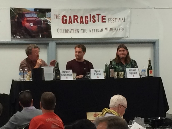 Mikael Sigouin of Kaena Wine Co., Ryan Pease of Paix sur Terre, and Stewart McLennan of Golden Triangle on the panel.